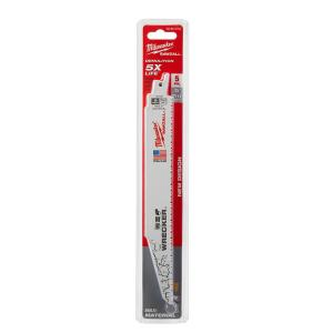 Milwaukee 9 inch 7/11 Teeth per inch Wrecker Demolition Cutting Reciprocating Saw Blade (5-Pack) by Milwaukee