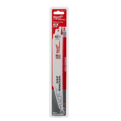 9 in. 7/11 Teeth per in. Wrecker Demolition Cutting Reciprocating Saw Blade (5-Pack)