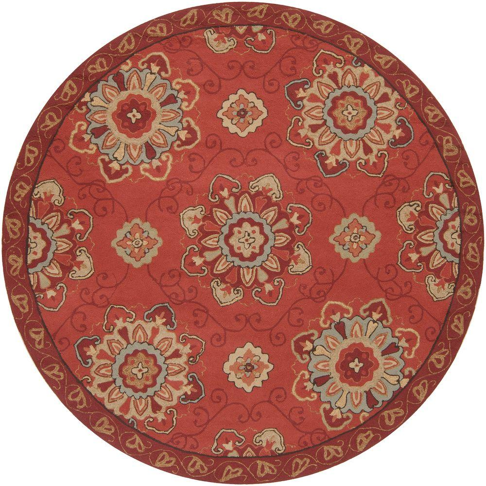Palacio Burgundy 8 ft. Round Area Rug