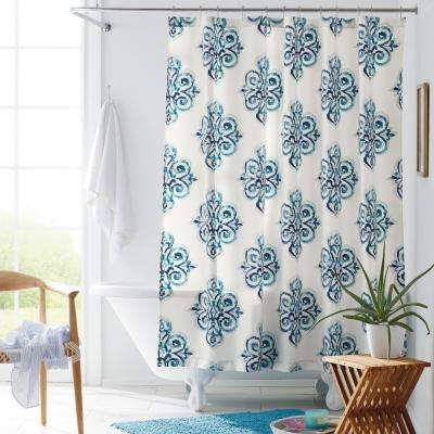 Durant 72 in. Multicolored Geometric Wrinkle-Free Sateen Shower Curtain