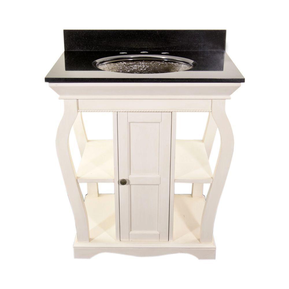 Vineta 30 in. Vanity in Antique White with Granite Vanity Top in Black with Black Nickel Undermount Sink