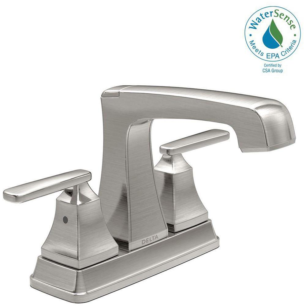 Delta Ashlyn 4 in. Centerset 2-Handle Bathroom Faucet with Metal Drain Assembly in Stainless