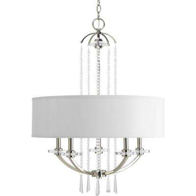 Nisse Collection 5-Light Polished Nickel Chandelier with White Linen Shade