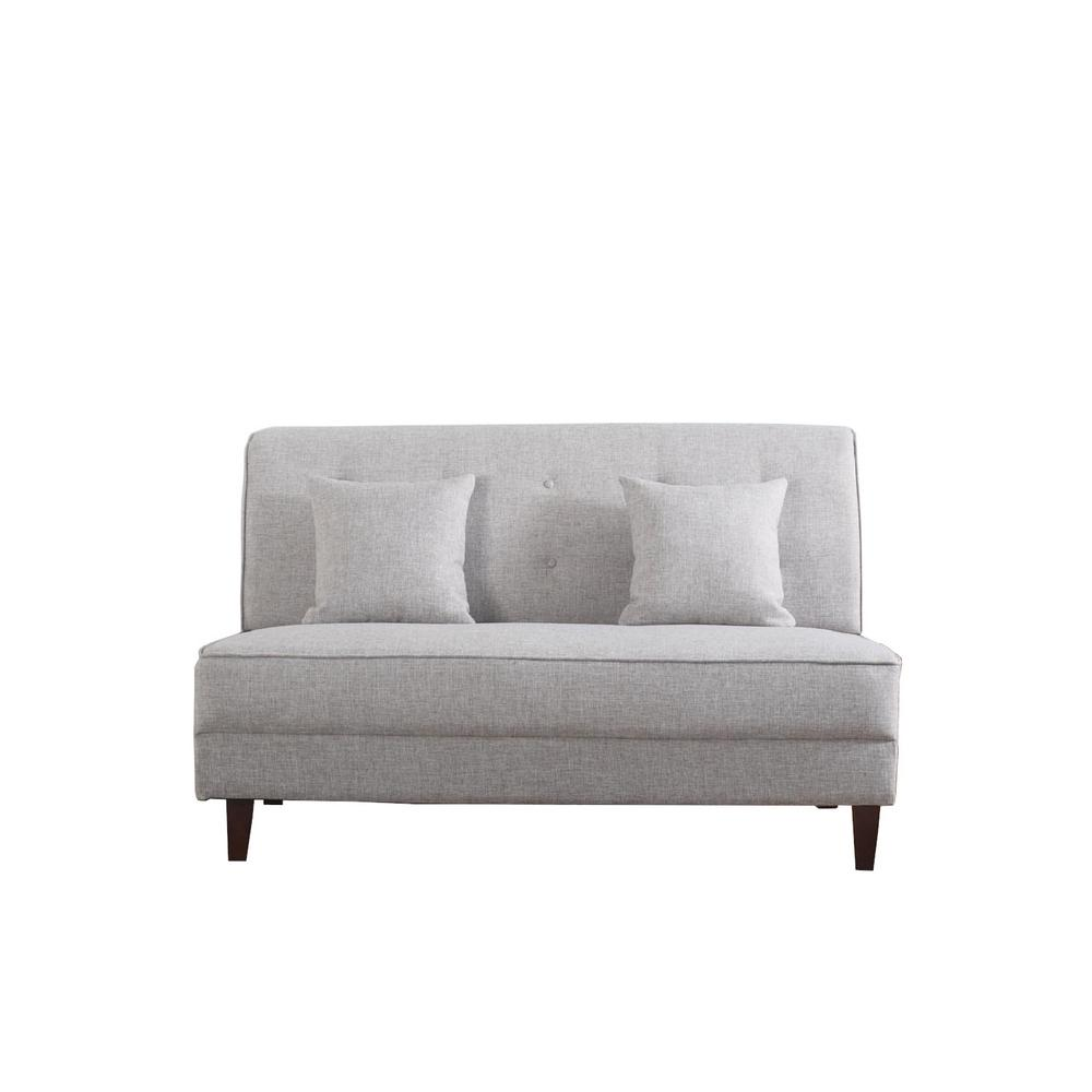 Button Light Brown Color Tufted Loveseat with Pillows