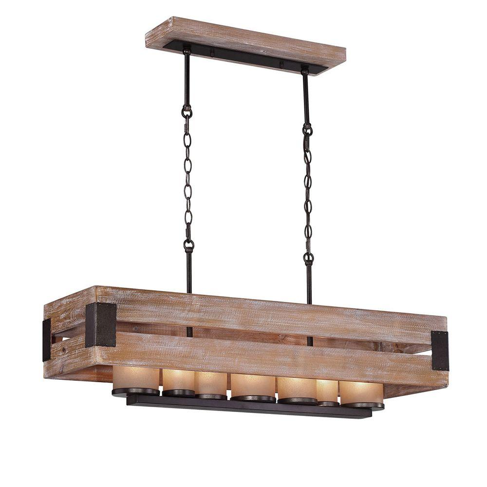 Ackwood 7 light wood rectangular chandelier with amber glass shades