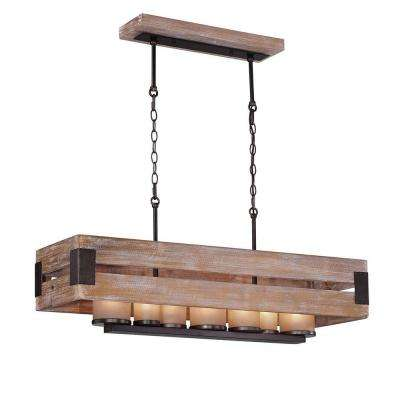 Ackwood 7-Light Wood Rectangular Chandelier with Amber Glass Shades