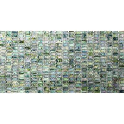 Breeze Green Tea Glass Mosaic Floor and Wall Tile - 3 in. x 6 in. Tile Sample