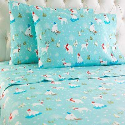 4-Piece Fun in the Snow Polyester King Sheet Set