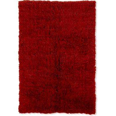 New Flokati Burgundy 4 ft. x 6 ft. Area Rug