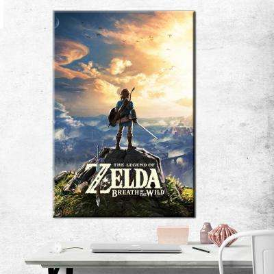 24 in. x 36 in. Zelda - BOTW - Hyrule Landscape Gallery Wrapped Canvas Wall Art