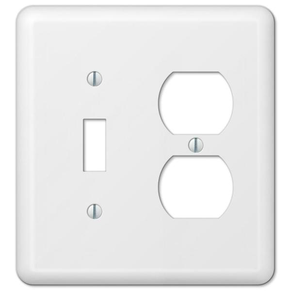 Declan 2 Gang 1-Toggle and 1-Duplex Steel Wall Plate - White