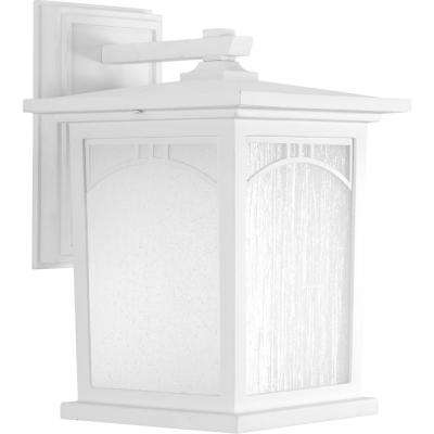 Residence Collection 1-Light Textured White LED Wall Lantern
