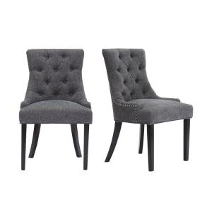 Bakerford Ebony Wood Upholstered Dining Chair with Charcoal Seat (Set of 2) (21.85 in. W x 36.22 in. H)