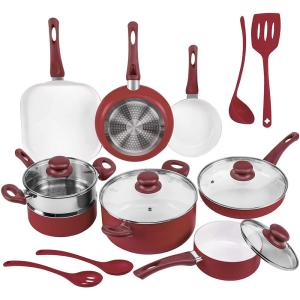 16-Piece Red Non-Stick Ceramic Cookware Set with Lids