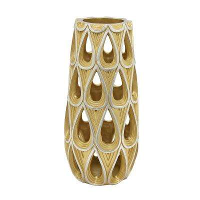 Decorative Champagne Resin Pierced Decorative Vase