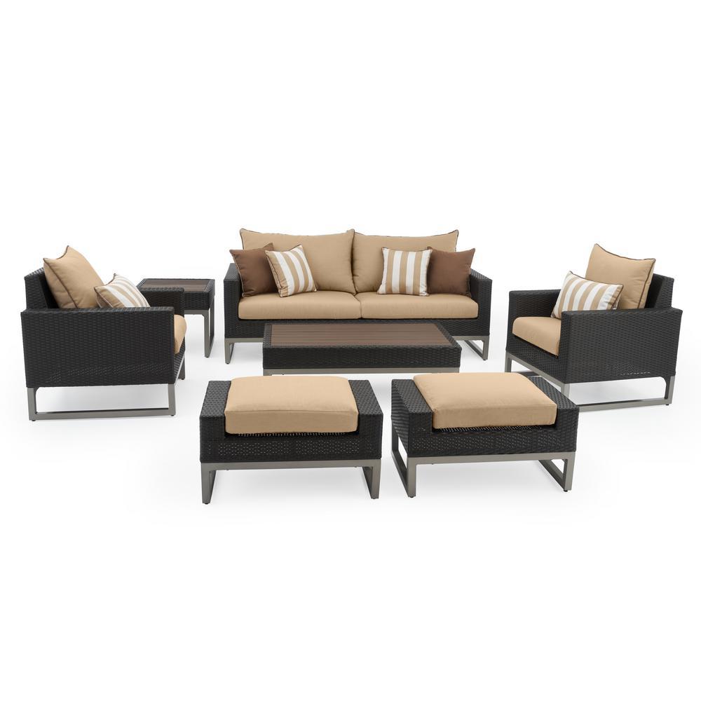Milo Espresso 7-Piece Wicker Patio Deep Seating Conversation Set with Sunbrella Maxim Beige Cushions
