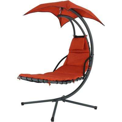 Steel Outdoor Floating Chaise Lounge Chair with Polyester Burnt Orange Cushions and Canopy