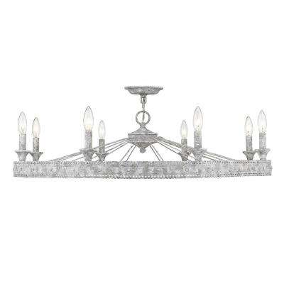 Ferris 35.5 in. 8-Light Oyster Convertible Chandelier/Semi-Flush Mount