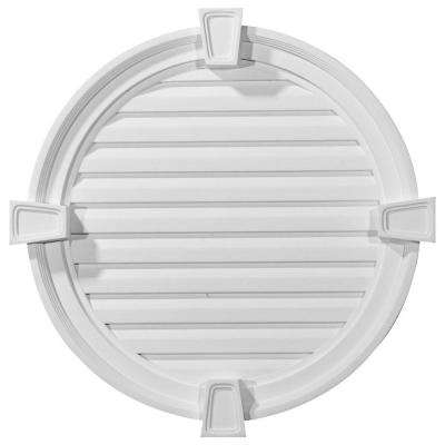 2-1/8 in. x 24 in. x 24 in. Decorative Round Gable Vent with Keystones