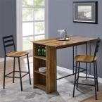 3 Piece Reclaimed Barnwood Drop Leaf Counter Table Set