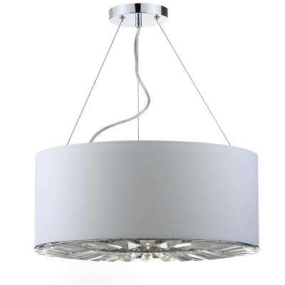 Fernando 3-Light Chrome/White Drum Pendant