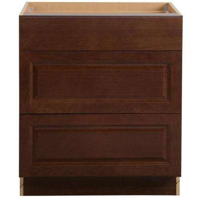 Benton Assembled 30x34.5x24.6 in. Base Cabinet with 3-Soft Close Drawers in Amber