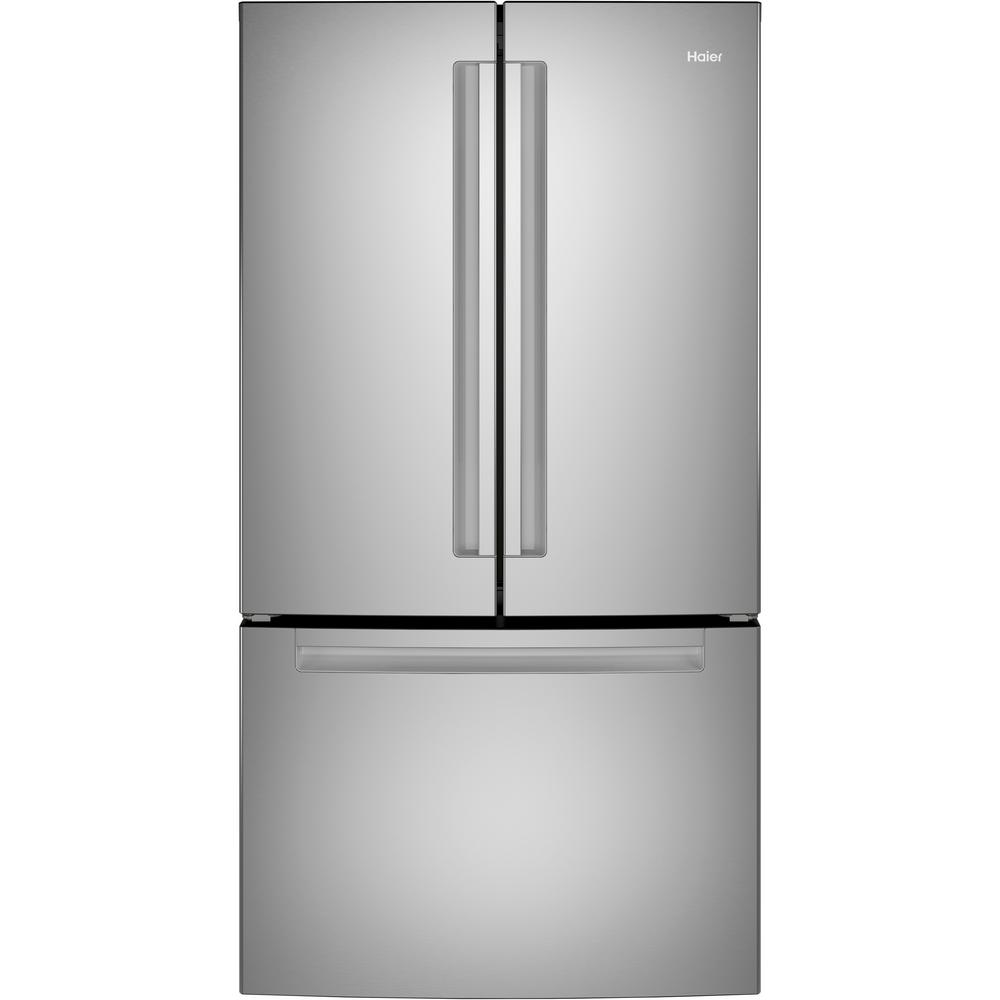 Haier 27 0 Cu Ft French Door Refrigerator In Stainless