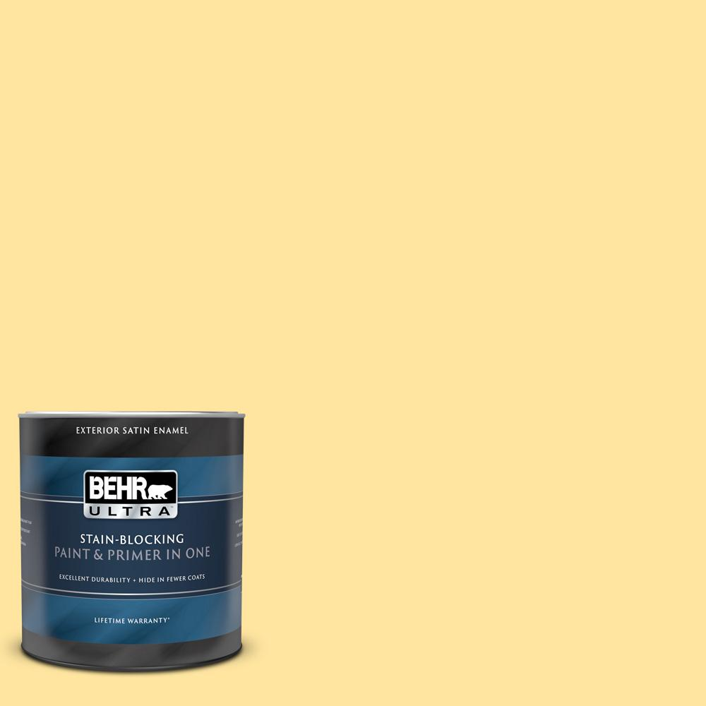 Behr Ultra 1 Qt 340b 4 Lemon Drops Satin Enamel Exterior Paint And Primer In One 985404 The Home Depot