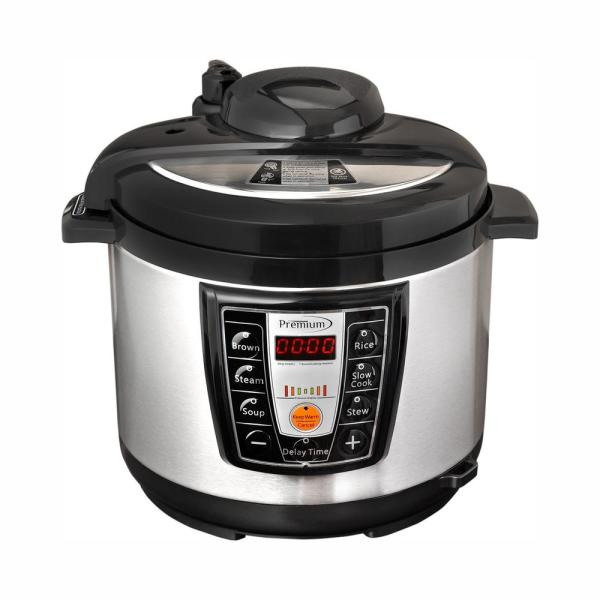 PREMIUM 5.2 Qt. Black and Silver Electric Pressure Cooker with Browning Control