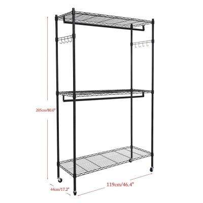 79 in. x 47 in. Carbon Steel Double Layer Powder Coating Mesh  Black Garment Rack