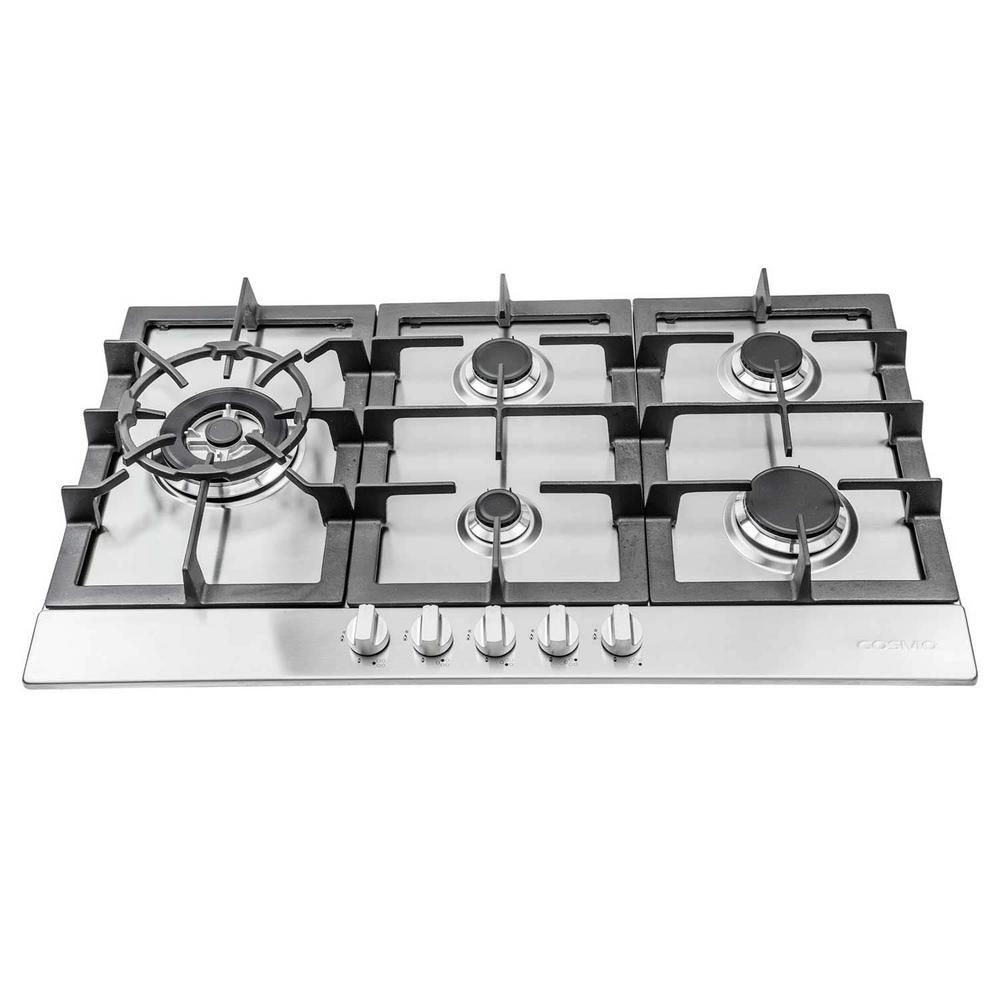 Cosmo 30 in. Gas Cooktop in Stainless Steel with 5 Sealed Brass ...