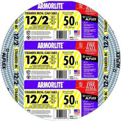 12/2 x 50 ft. Stranded CU MC (Metal Clad) Armorlite Cable