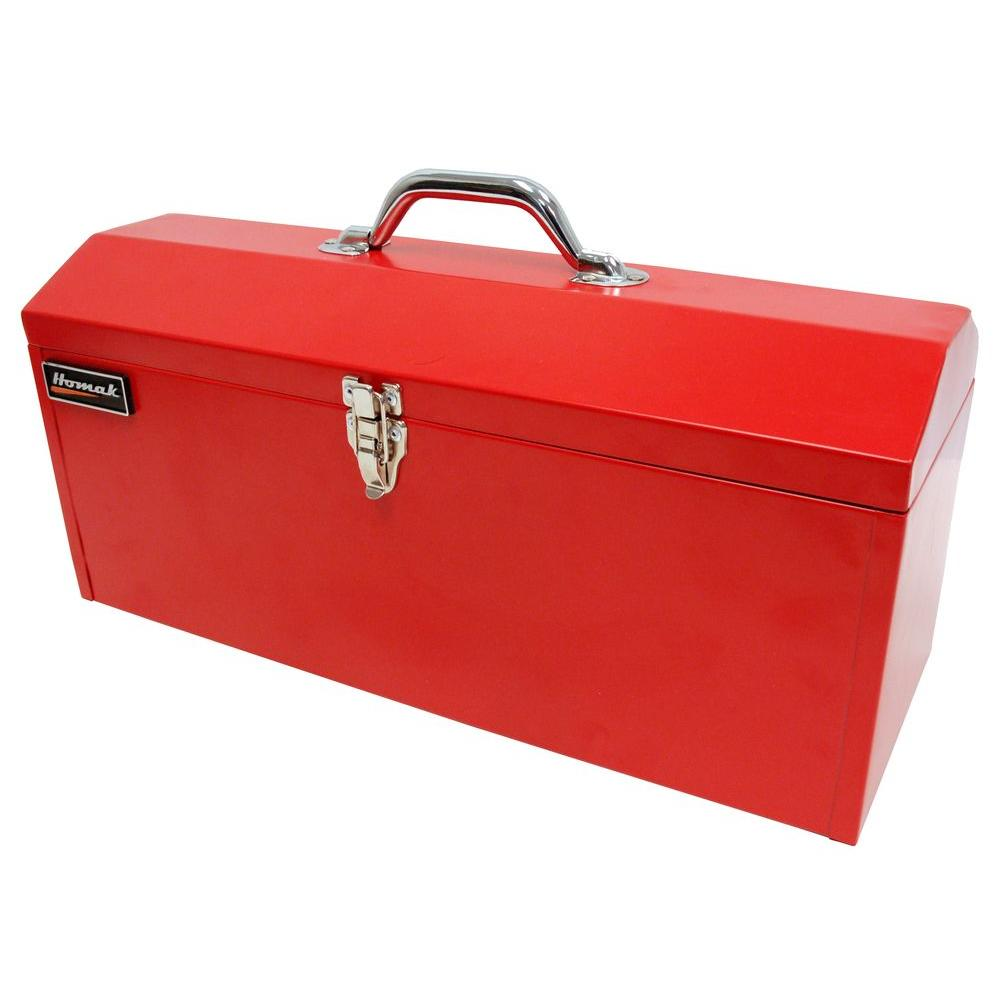 Captivating Metal Tool Box, Red