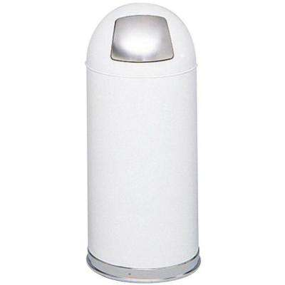 15 Gal. White Round Top Trash Can