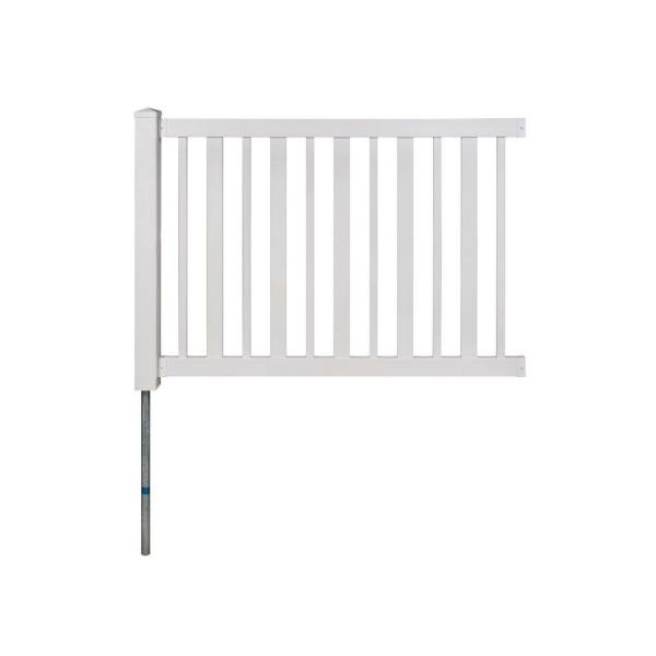 Sturbridge Vinyl Yard & Pool Fence w/Post and No-Dig Steel Pipe Anchor Kit (4 ft. H x 6 ft. W)