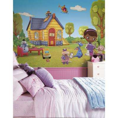 72 in. x 126 in. Doc McStuffins Chair Rail Pre-Pasted Wall Mural