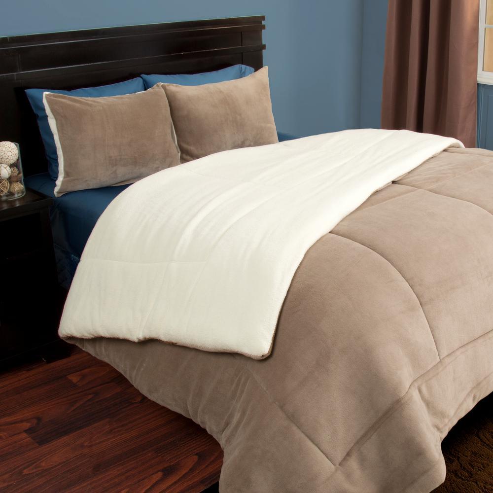 3-Piece Taupe Sherpa-Fleece Full/Queen Comforter Set