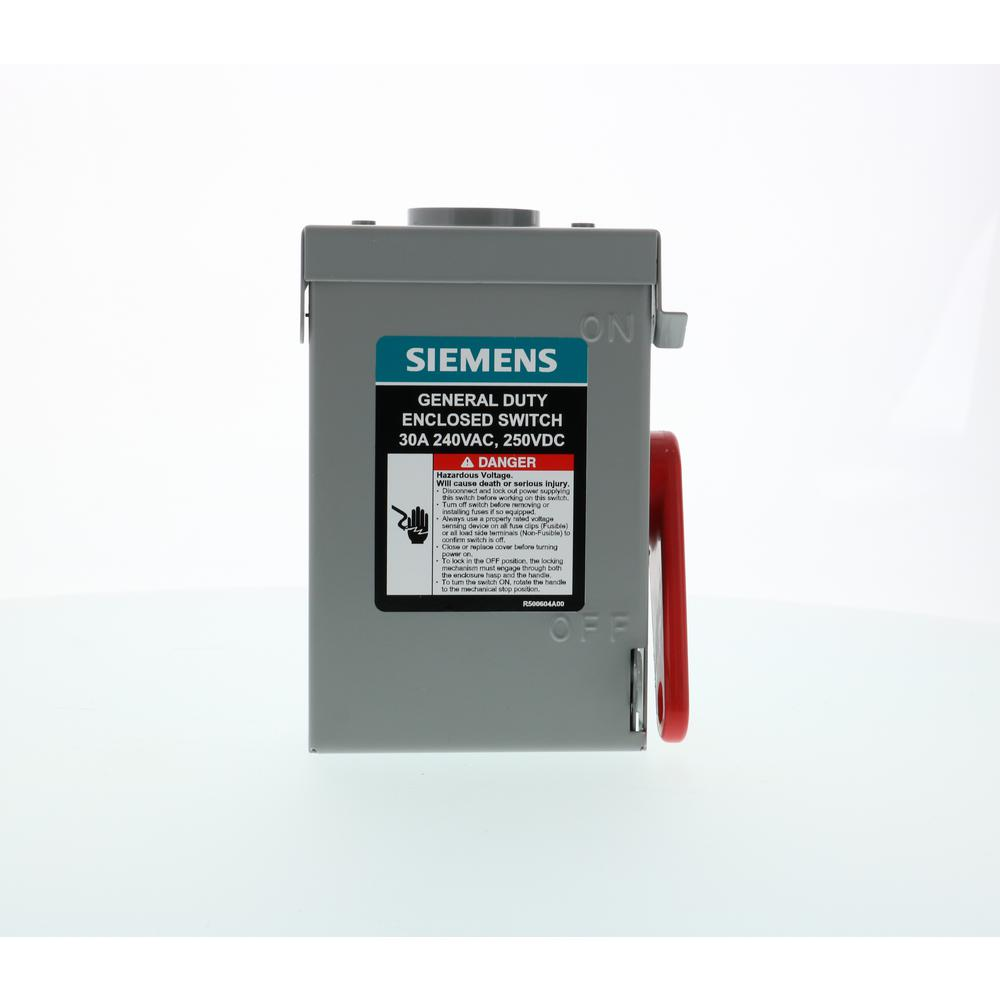 240 Volt Wiring >> Siemens General Duty 30 Amp 3 Pole 3 Wire 240 Volt Non Fusible Outdoor Safety Switch