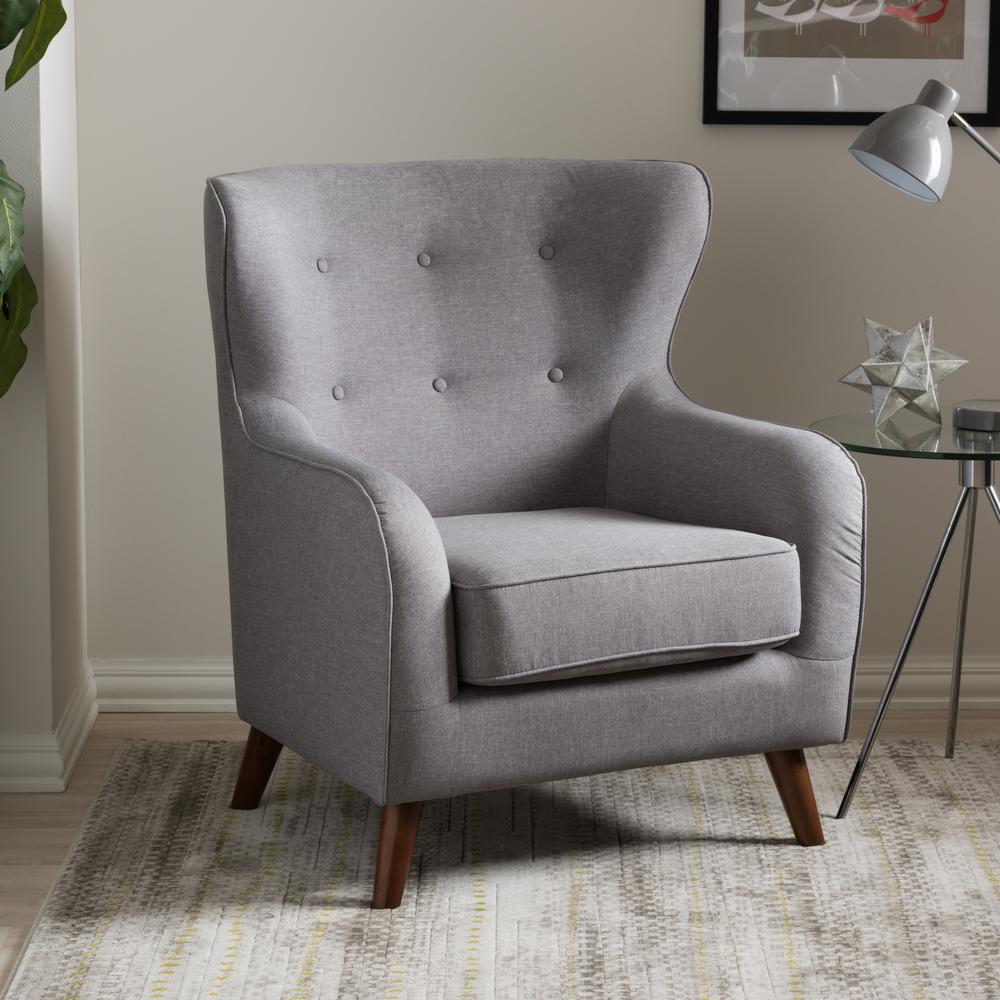 Ludwig Gray Fabric Upholstered Accent Chair