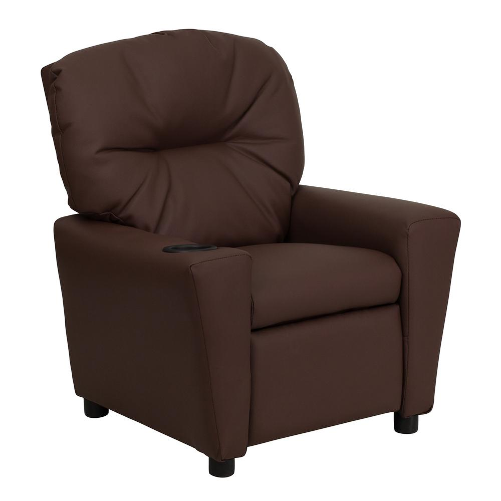 Flash furniture contemporary brown leather kids recliner with cup holder