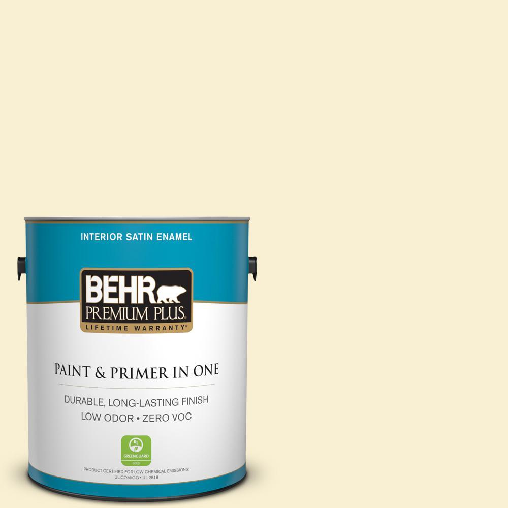 BEHR Premium Plus 1-gal. #370C-2 Custard Cream Zero VOC Satin Enamel Interior Paint