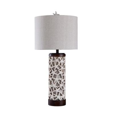 34 in. Sand Shell/Bronze Table Lamp with White Styrene Shade