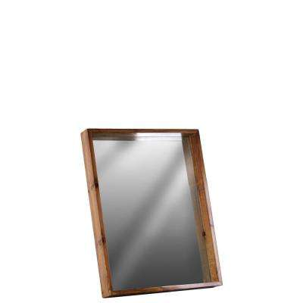 Rectangular Brown Varnished Wood Wall Mirror