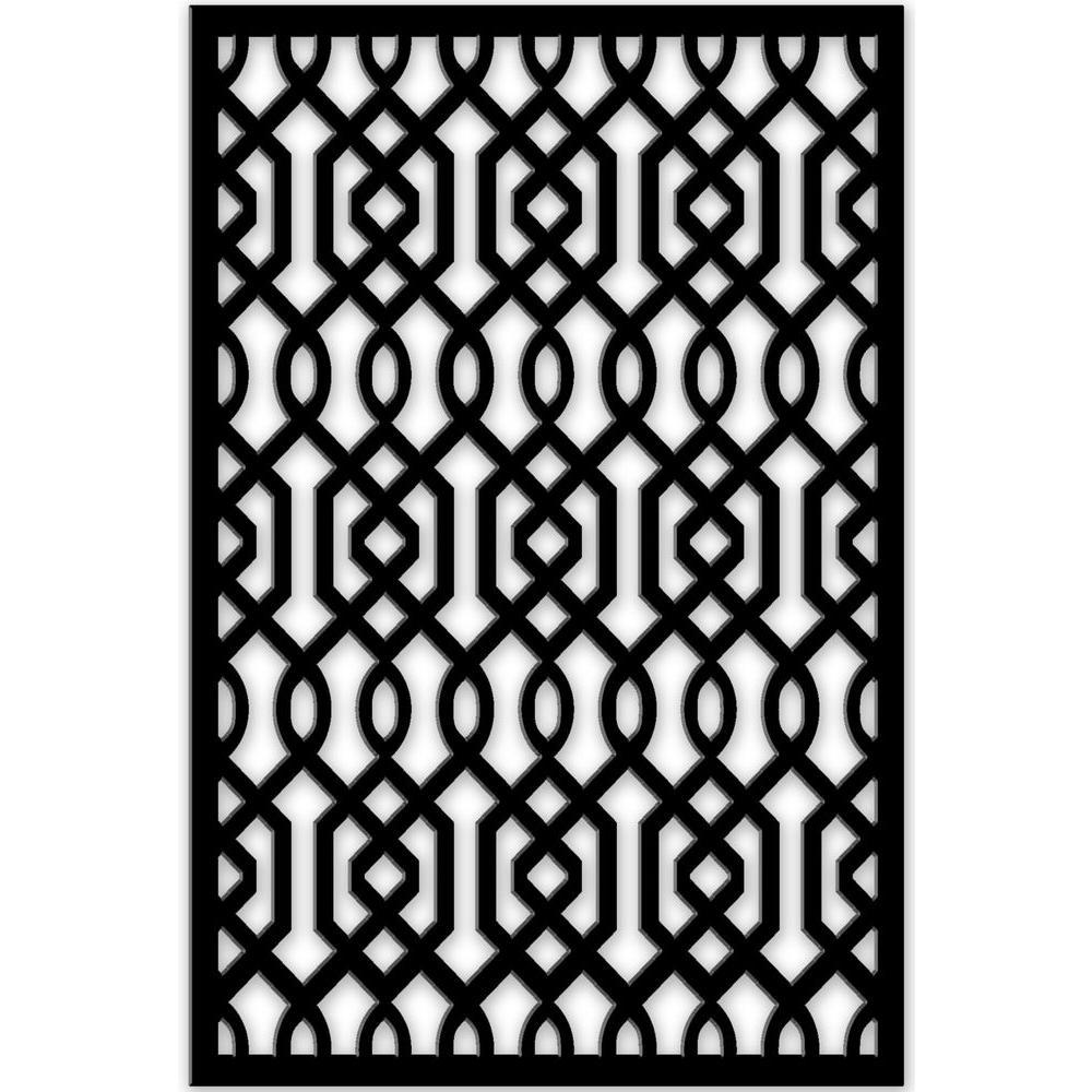 Azzaria 32 in. x 4 ft. Black Vinyl Decorative Screen Panel