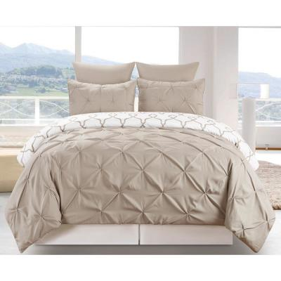 Esy Reversible 3 Piece Duvet Queen Set in Taupe