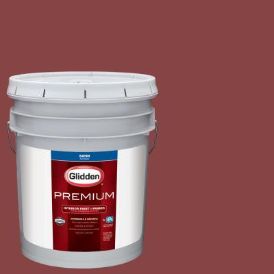 Glidden Premium 5 gal. #NHL-024B Arizona Coyotes Red Satin Interior Paint with Primer