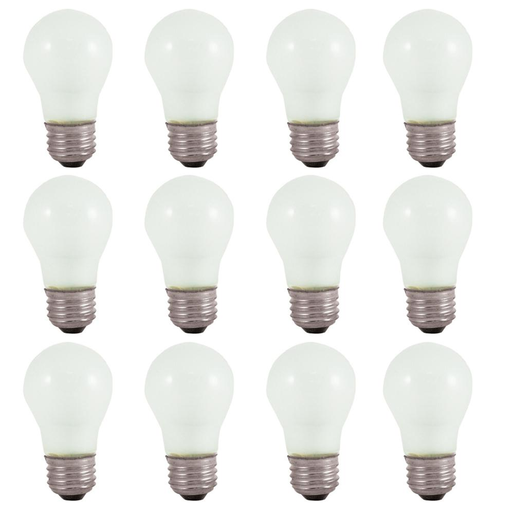 Bulbrite 25-Watt A15 Frost Dimmable Warm White Light Incandescent Light Bulb (12-Pack) Bulbrite's classic A-shape dimmable standard Incandescent bulbs are the perfect option for any household appliance and fixture. Incandescent bulbs create a warm glow due to their high color rendering index; perfect for any atmosphere and location. Ideal for refrigerators and other appliances. Made with vibration resistant filament for longer life.