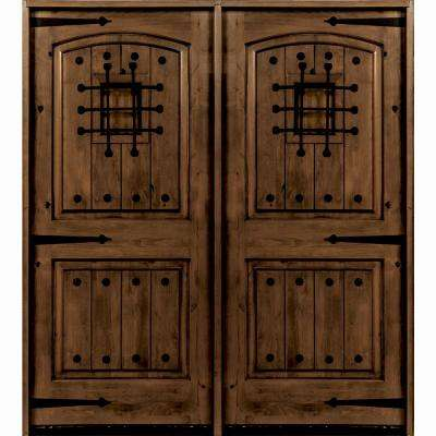 60 In X 96 Mediterranean Knotty Alder Arch Top With Provincial Stain Right Hand Wood Double Prehung Front Door