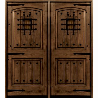 72 in. x 96 in. Mediterranean Knotty Alder Arch Top with Provincial Stain Right-Hand Wood Double Prehung Front Door