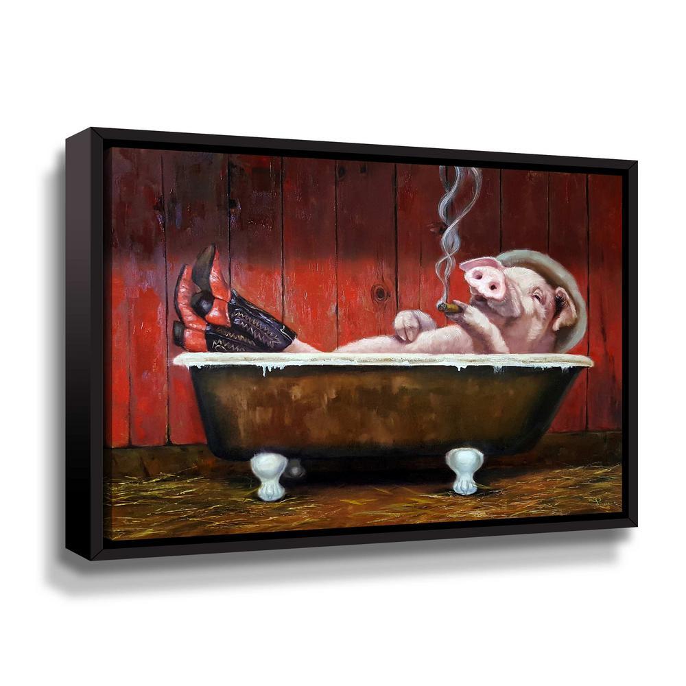 ArtWall Hog Heaven' by Lucia Heffernan Framed Canvas Wall Art 5hef082a1824f